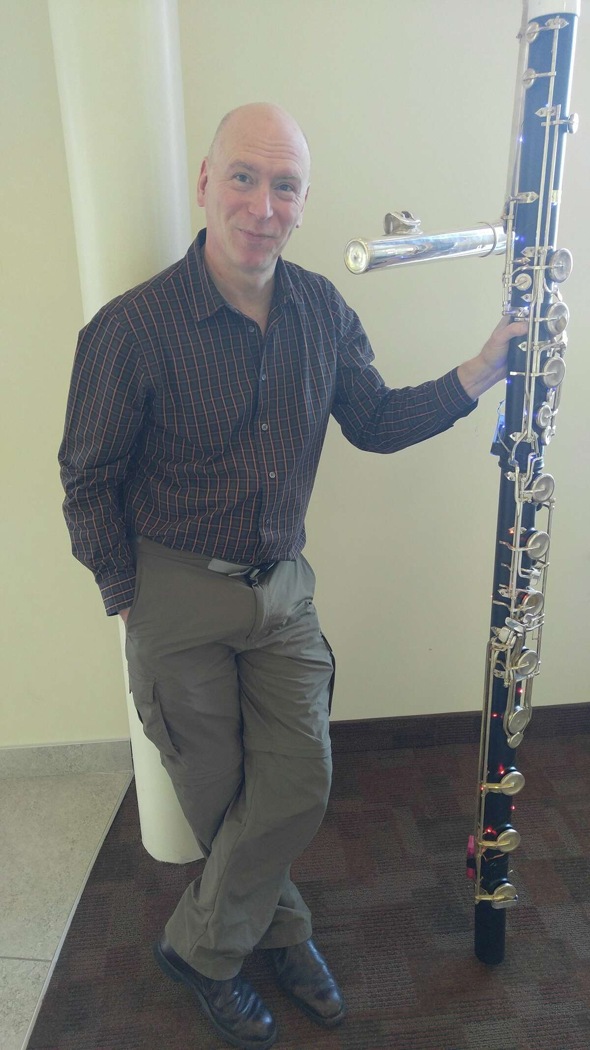Norman Thibodeau with Hogenhuis contrabass flute - photo credit Graham Wolfe