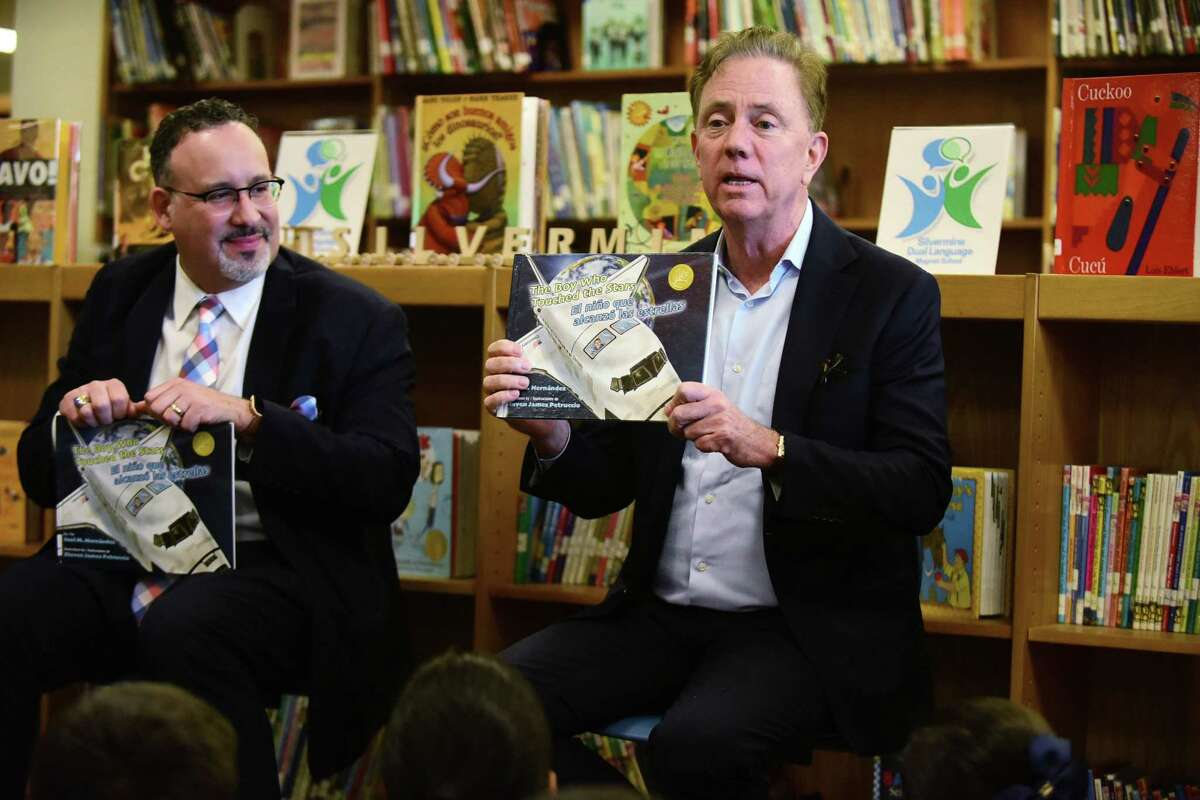 Education State Department of Education Commissioner Miguel Cardona and Governor Ned Lamont visit Silvermine Dual Language Magnet School Friday, February 28, 2020, to read to students in celebration of Read Across America at the school in Norwalk, Conn..