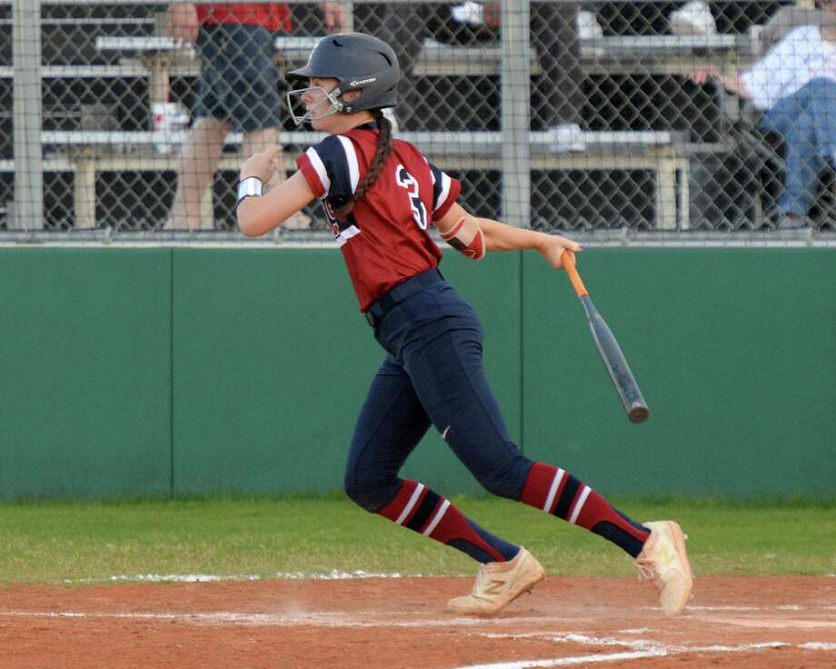 Brook Lorenzo (3) of Tompkins drives in a run with a triple during the fourth inning of a Class 6A Region III bi-district playoff softball game between the Tompkins Falcons and the Kempner Cougars on Friday, April 26, 2019 at Paetow High School, Katy, TX. Photo: Craig Moseley, Houston Chronicle / Staff Photographer / ©2019 Houston Chronicle