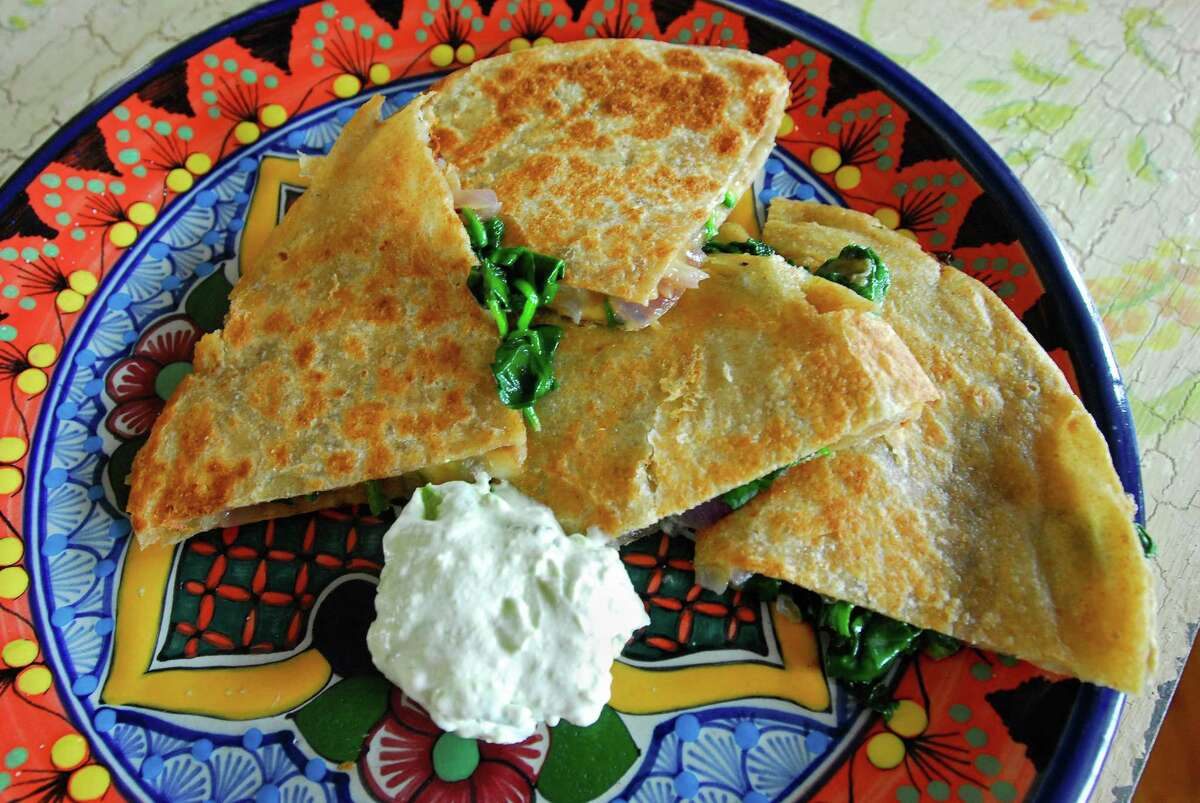 In East Haven, Claire's spinach and red onion quesadilla. Photo by Brad Horrigan/New Haven Register-11.16.10. BH0715-101116