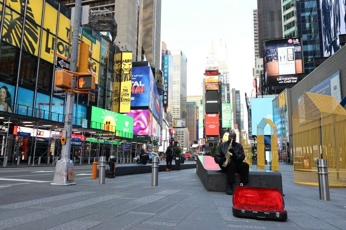 PHOTOS: A look at the barren streets of New York City during the coronavirus pandemic A saxophonist plays in front of a nearly empty Times Square in New York City on Wednesday, April 1, 2020. Browse through the photos above for a look at Teri D. Brake's shots from around New York City during the pandemic ...