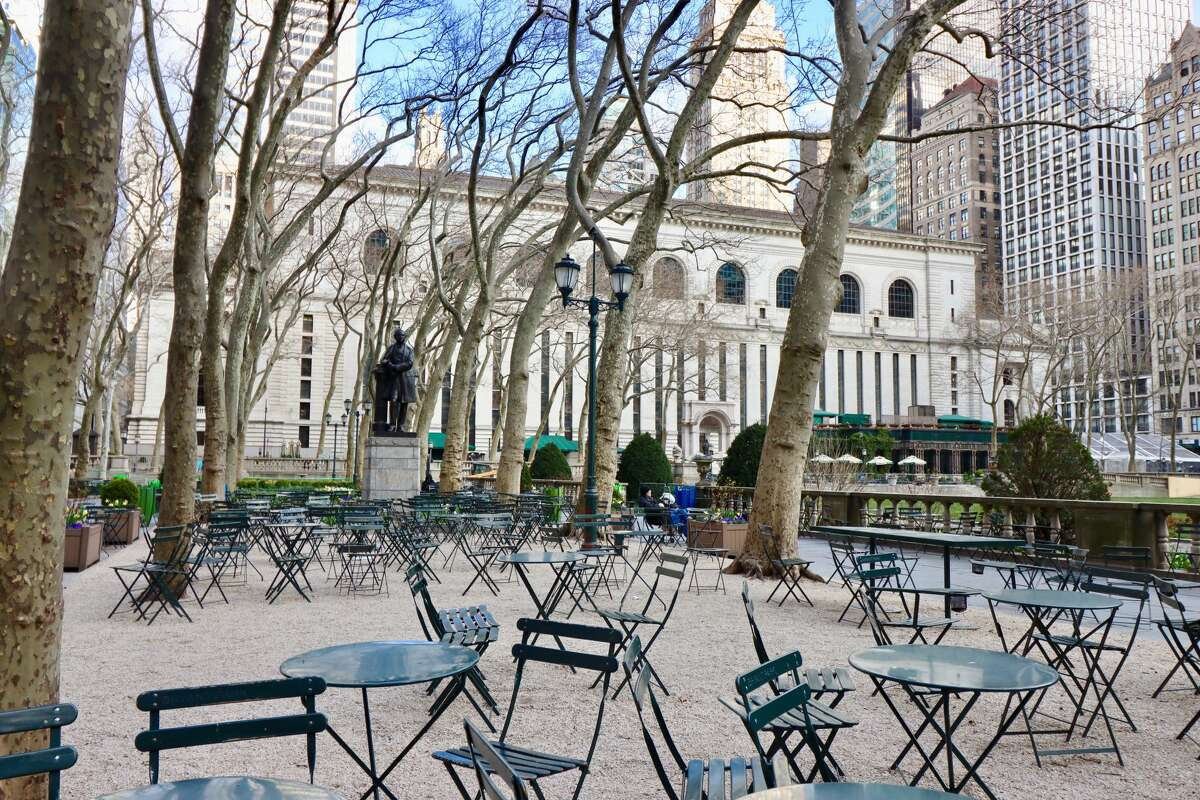 A look at a nearly empty Bryant Park in Manhattan on Wednesday, April 1, 2020.