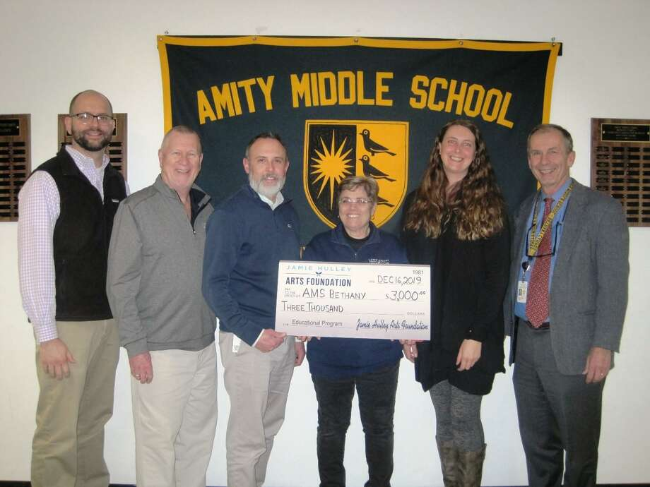 Nick DaPonte, 7th grade social studies teacher; Fred Hulley, Jamie A. Hulley Arts Foundation; Robert Murphy, 8th grade social studies teacher; Judy Primavera, Jamie A. Hulley Arts Foundation; Marika Wissink, 8th grade social studies teacher; Richard Dellinger, Principal Photo: Contributed Photo