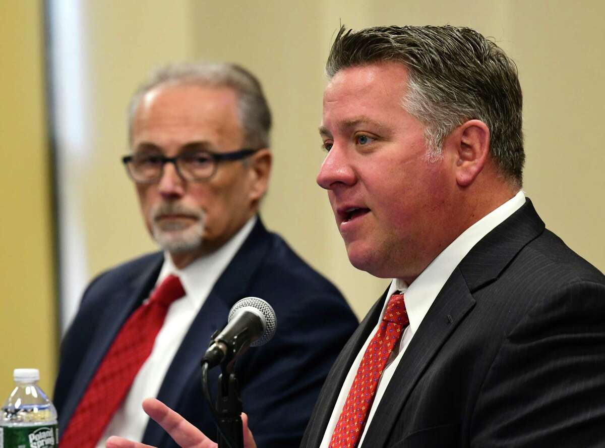 Albany County Executive Dan McCoy, right, said Thursday that the county will expand wireless service in the Hilltowns to improve internet access for residents. (Lori Van Buren/Times Union)