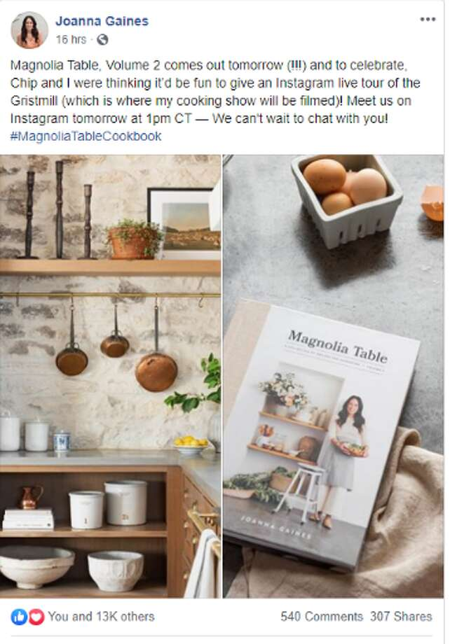 """For all """"Fixer Upper"""" fans, Joanna Gaines is sharing a behind-the-scenes tour of her new cooking show set on Instagram today at 1 p.m. Photo: Screenshot Joanna Gaines Facebook"""