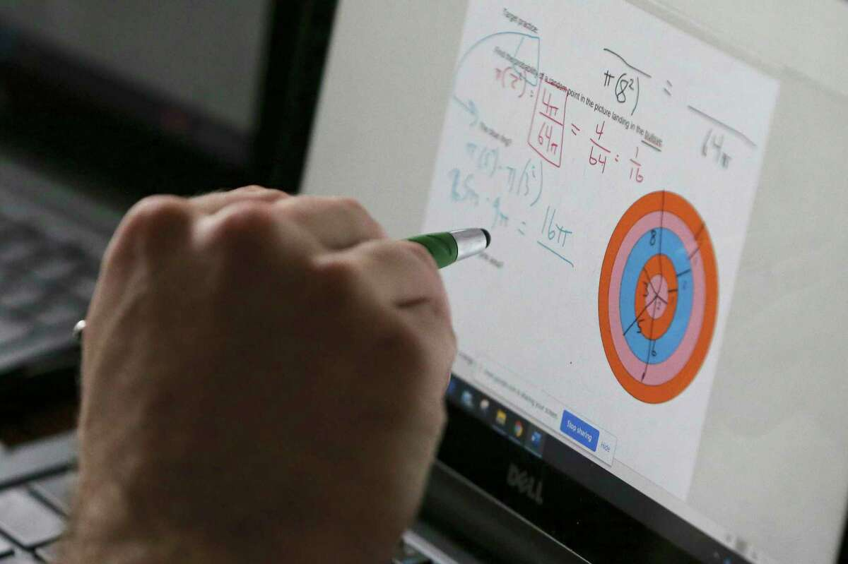 Christopher Pappas leads an online geometry class recently.