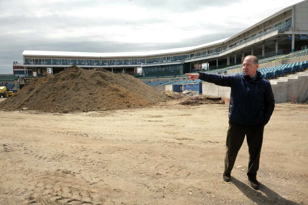 Developer Howard Saffan leads a tour of the former Harbor Yard baseball stadium, which he is currently renovating into the new Harbor Yard Amphitheater, a concert venue in Bridgeport, Conn. April 11, 2019.