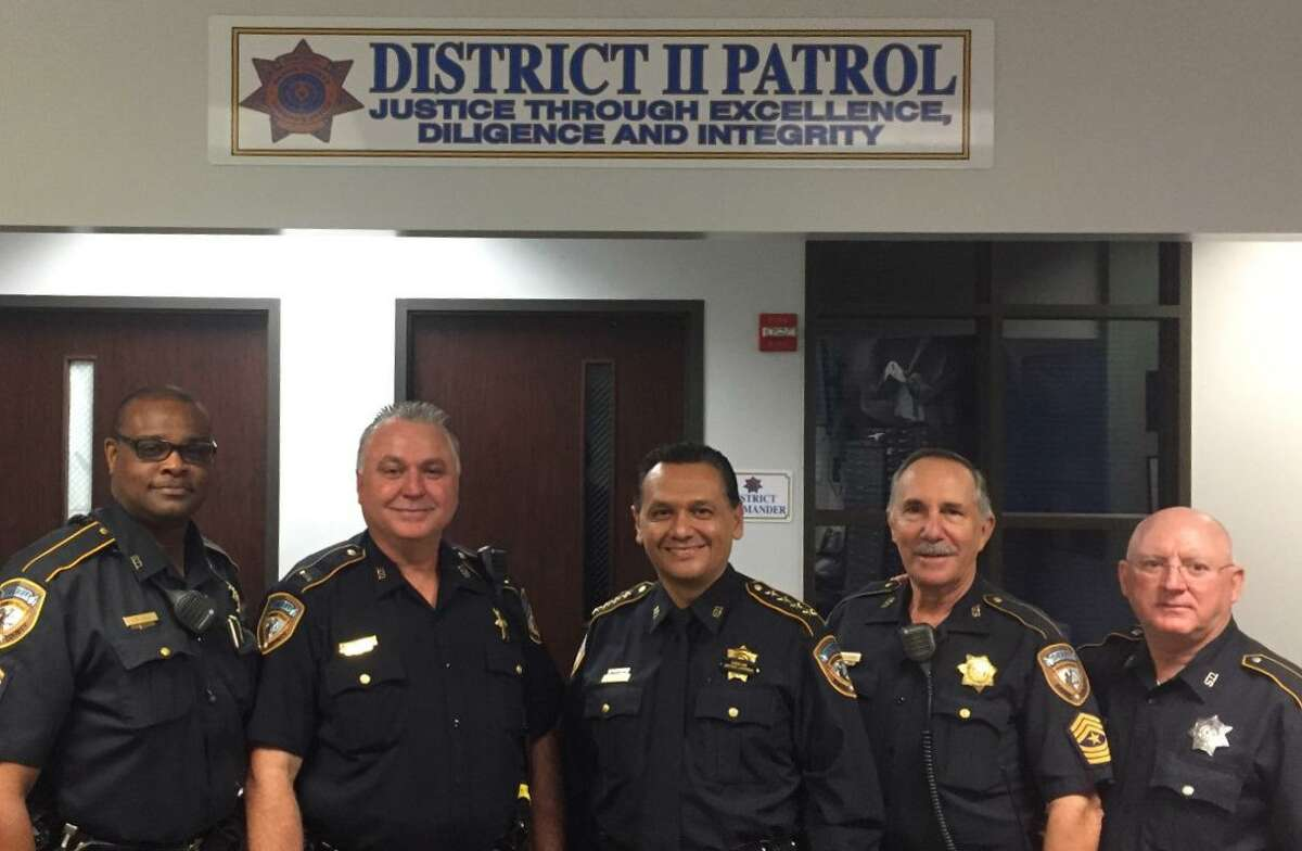 From left, Sergeant Darrell Nedd (retired), Lieutenant Bill Gray, Sheriff Ed Gonzalez, Sergeant Raymond Scholwinski and Deputy Steve Chapman. Raymond Scholwinski, a Harris County Sheriff's Deputy who is in critical condition from COVID-19.