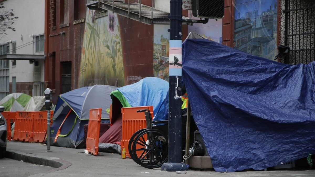Homeless encampment seen on Monday, April 6, 2020, in San Francisco.