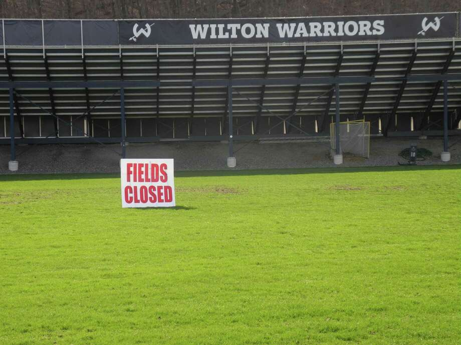 Fujitani Field at Memorial Stadium, and the track that runs around it, will be open for limited use beginning Saturday, May 16. Photo: Jeannette Ross / Hearst Connecticut Media / Wilton Bulletin