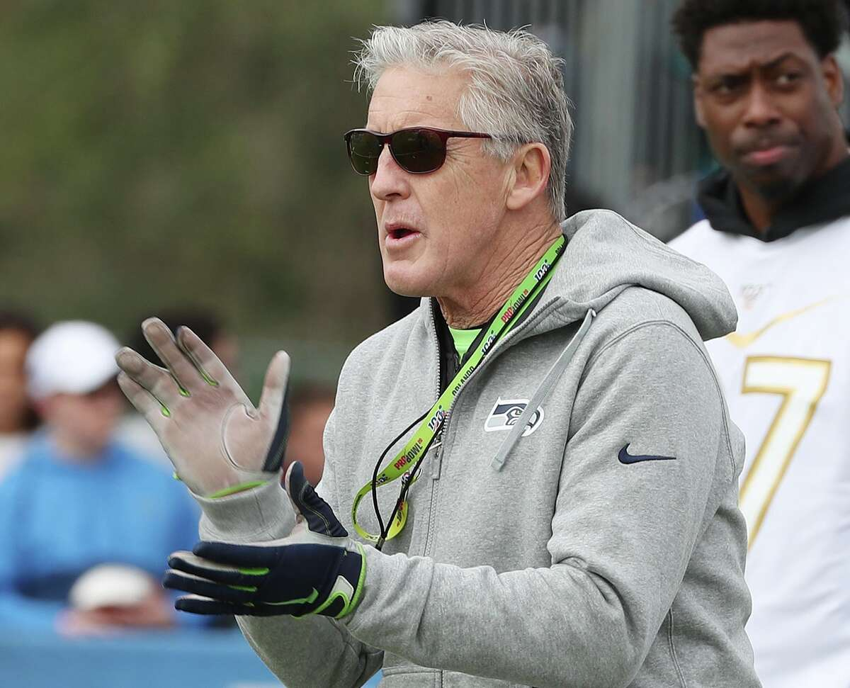 NFC Team Seattle Seahawks coach Pete Carroll cheers during practice for the Pro Bowl at Disney's ESPN Wide World of Sports Wednesday, Jan. 22, 2020 in Orlando, Fla. (Stephen M. Dowell/Orlando Sentinel/TNS)