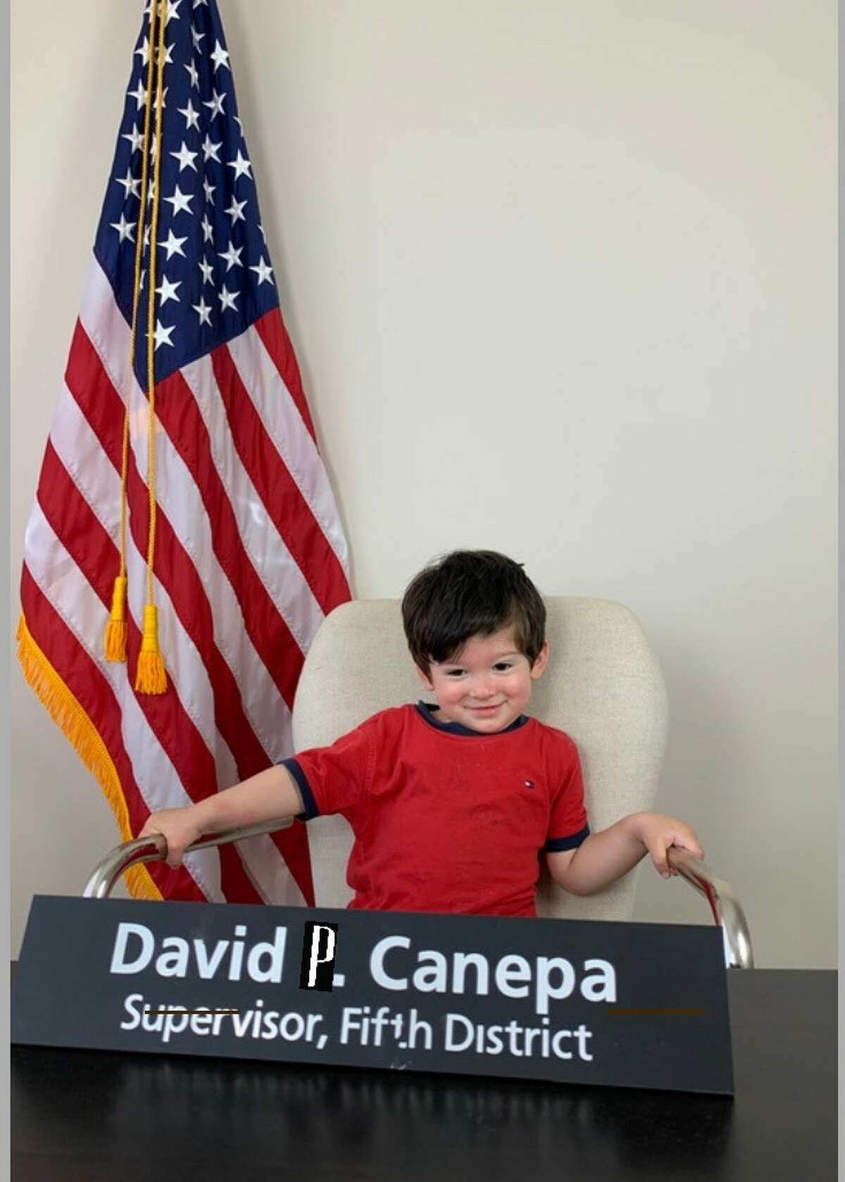 Photo from reader (and San Mateo District 5 Supervisor) David J. Canepa deputizing his son from home.