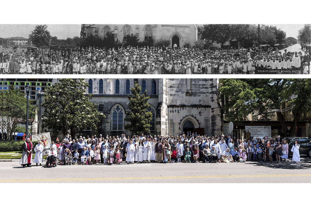 Since the 1920's, the congregation of Trinity Episcopal Church in midtown Houston has posed for a panoramic Easter portrait of the membership. This Easter will be one of the rare years when that photograph will not be taken. As in 1983, when the Easter morning negative came out blank, this year's congregation will be photographed later in the year.The top photo here was taken in 1924. The color photo is recent.