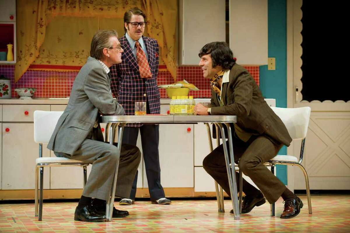 """Graeme Malcolm, Robert Petkoff and Christopher Innvar in """"Absurd Person Singular"""" at Barrington Stage Company. (Kevin Sprague)"""