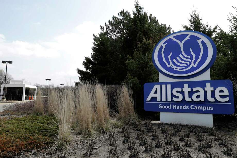 An Allstate Corp. sign display outside the company's headquarters in Northbrook, Ill., in January. Allstate is refunding $600 million in premiums that were earmarked to cover auto accidents this spring that will never come to be. Photo: Nam Y. Huh / Associated Press / Copyright 2020 The Associated Press. All rights reserved.