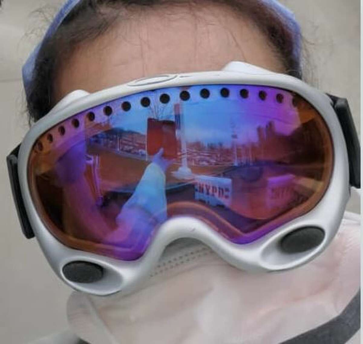 Medical personnel are using donated ski goggles if they can't get medical glasses for protection in treating COVID-19 patients.