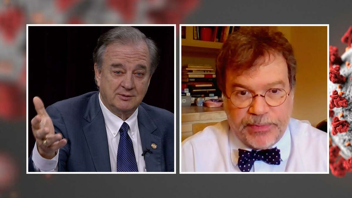 The Texas A& University System will host its own TV series on COVID-19, featuring experts and scientist throughout the system and Chancellor John Sharp, left, as moderator. Dr. Peter Hotez, right, a scholar at Texas A& and a professor, dean and researcher at Baylor College of Medicine, will appear in the first episode.