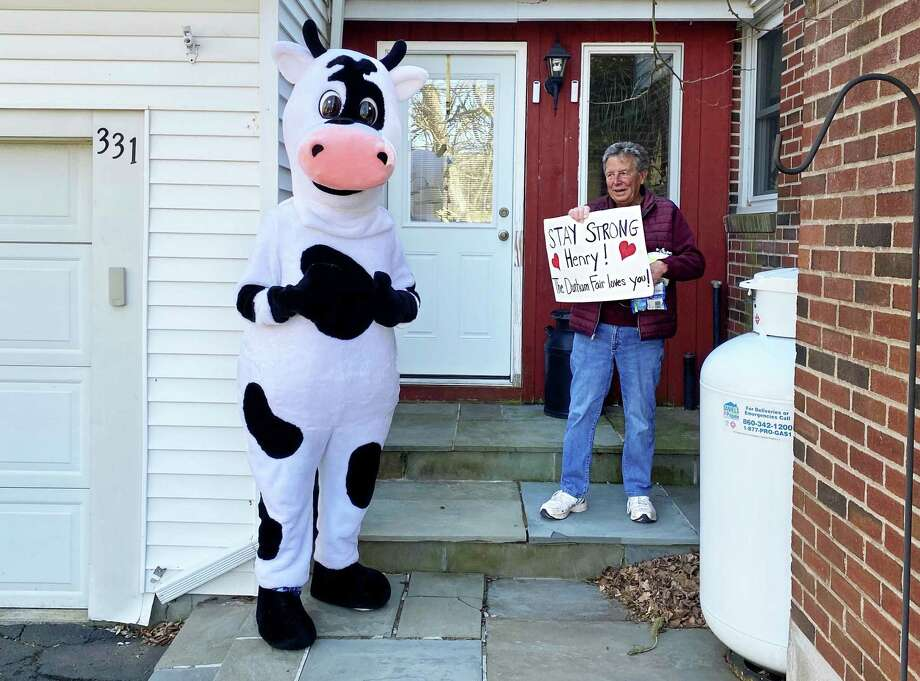 """The Durham Fair's mascot Marigold, left, is delivering """"cowgrams"""" to residents who could use a lift to temporarily ease the isolation many are experiencing during the coronavirus outbreak. At right, Henry Coe is shocked to find a giant cow character on his doorstep, delivering a message of hope and joy. Photo: Contributed Photo"""