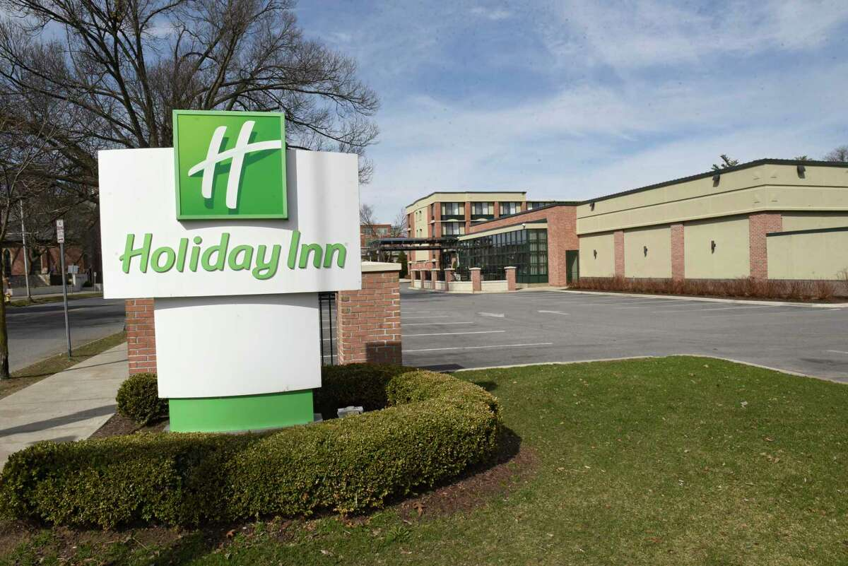 Exterior of the Holiday Inn on Tuesday, April 7, 2020 in Saratoga Springs, N.Y. (Lori Van Buren/Times Union)