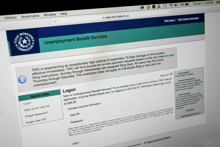 A message on the Texas Workforce Commission web site shows that the commission is limiting access for online payment requests on Tuesday, April 7, 2020 in Houston. Photo: Brett Coomer, Houston Chronicle / Staff Photographer / © 2020 Houston Chronicle