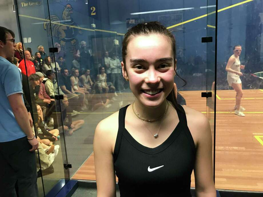 Greenwich Academy senior Emma Carney earned All-NEPSAC First Team Squash honors. Photo: David Fierro /Hearst Connecticut Media