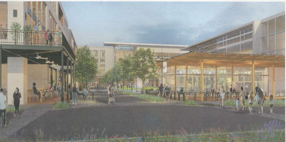 """Architects showed Selma City Council an illustration of what one of four """"commons areas"""" might look like in the heart of a 50-acre, half-billion-dollar town center construction project planned in the city. Photo: Illustration Courtesy Douglas Architects"""