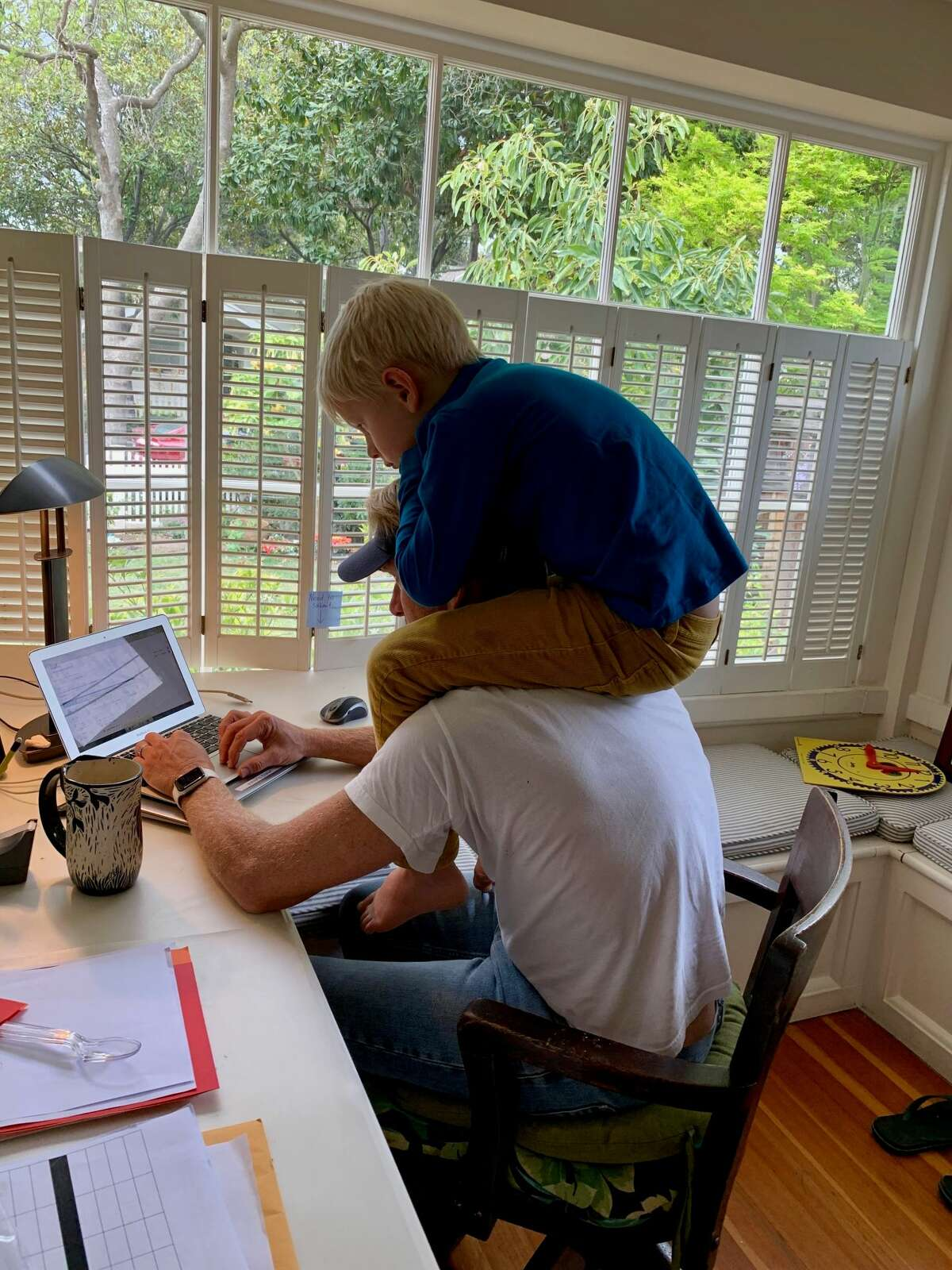 Reader Cameron Turner attempts to work from home.