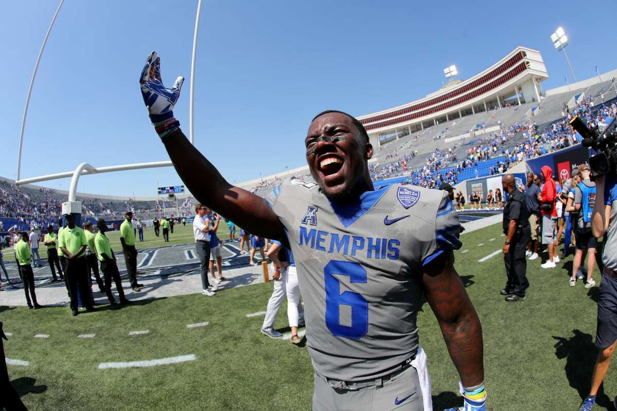 MEMPHIS, TN - AUGUST 31: Patrick Taylor #6 of the Memphis Tigers celebrates after a win against the Mississippi Rebels on August 31, 2019 at Liberty Bowl Memorial Stadium in Memphis, Tennessee. Memphis defeated Mississippi 15-10. (Photo by Joe Murphy/Getty Images)