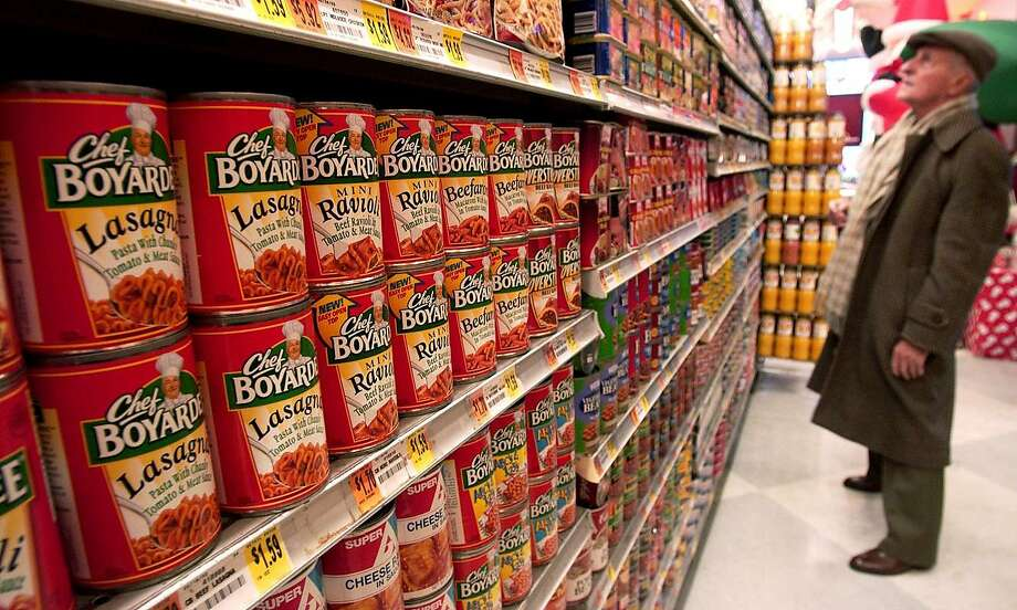 "FILE -- Chef Boyardee products sit on display in an Associated Supermarket in New York on December 22, 2003. ""We stocked up on the entire Chef Boyardee line. Chef Boyardee Ravioli. Chef Boyardee Beefaroni,"" Sue Smith said. ""I hadn't had that stuff in 20 years."" Photo: Daniel Acker, Bloomberg News"