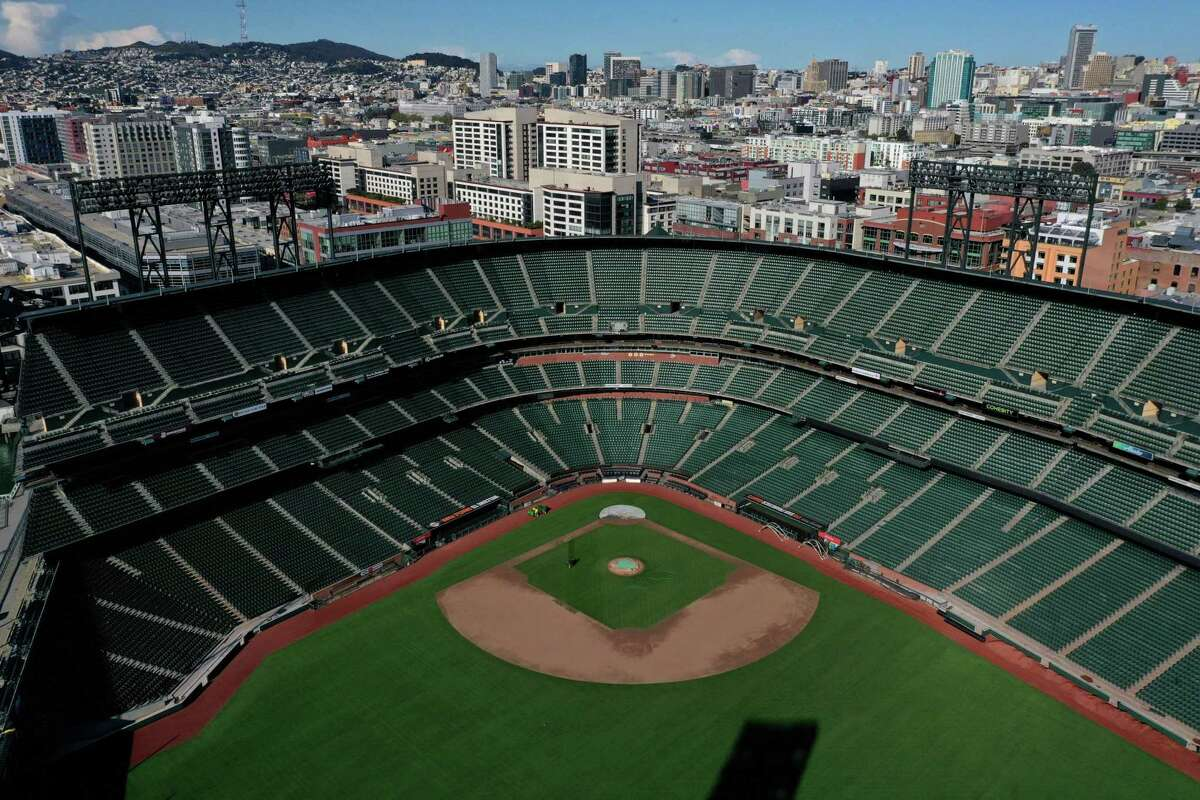 SAN FRANCISCO, CALIFORNIA - MARCH 26: An aerial view from a drone shows Oracle Park, home of the San Francisco Giants, empty on Opening Day March 26, 2020 in San Francisco, California. Major League Baseball Commissioner Rob Manfred recently said the league is