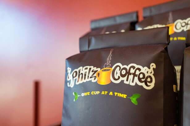 Close-up of coffee bags with logo at Philz Coffee, a popular California-based pour over artisan coffee chain in the Gourmet Ghetto (North Shattuck) neighborhood of Berkeley, California, October 6, 2017. (Photo by Smith Collection/Gado/Getty Images)