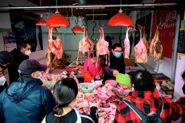 People wearing protective face masks shop at a chicken stall at a wet market in Shanghai on February 13, 2020. Transfers of diseases from animals to humans are on the rise.
