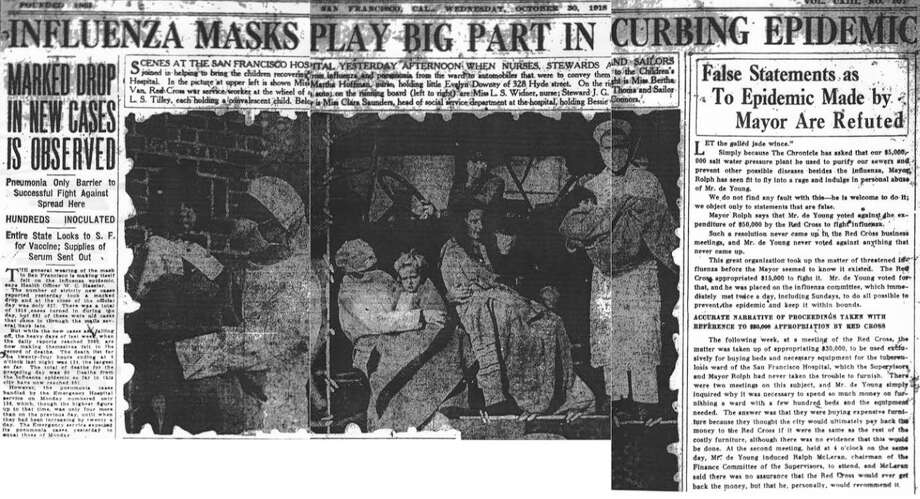 The San Francisco Chronicle Wednesday Oct. 30th, 1918 edition proclaimed that masks were helping curb the Spanish Flu epidemic. Photo: Chronicle Archive