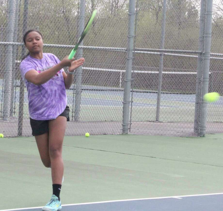 Big Rapids' Eden Short works on her hitting during a tennis practice last spring. (Pioneer file photo)