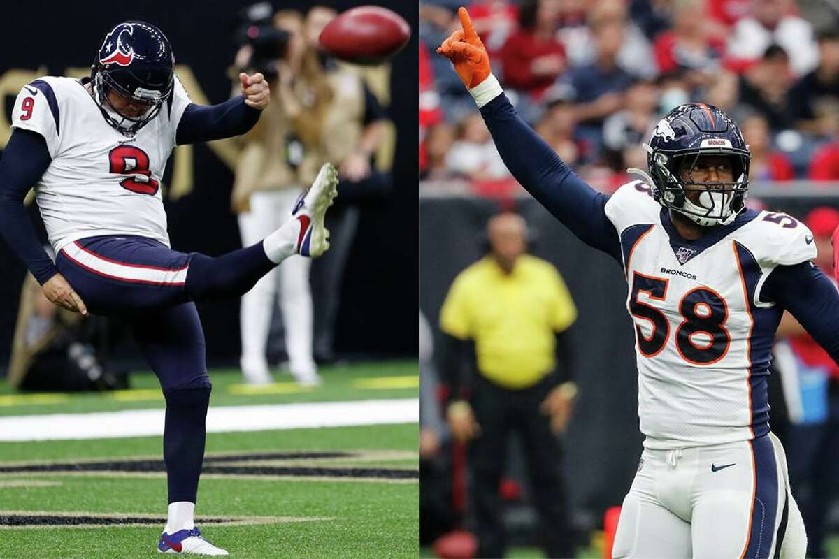Punter Shane Lechler, left, and linebacker Von Miller earned NFL All-Decade honors for the 2010s at positions they didn't play after first arriving at Texas A&M.