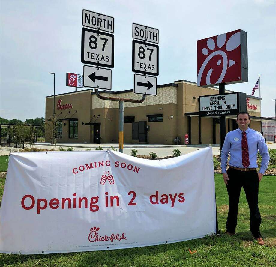 Eric Sienko, owner and operator of the new Chick-Fil-A location in Orange, poses in front of the restaurant set to open April 9 on the I-10 corridor. Photo: Courtesy Of The City Of Orange