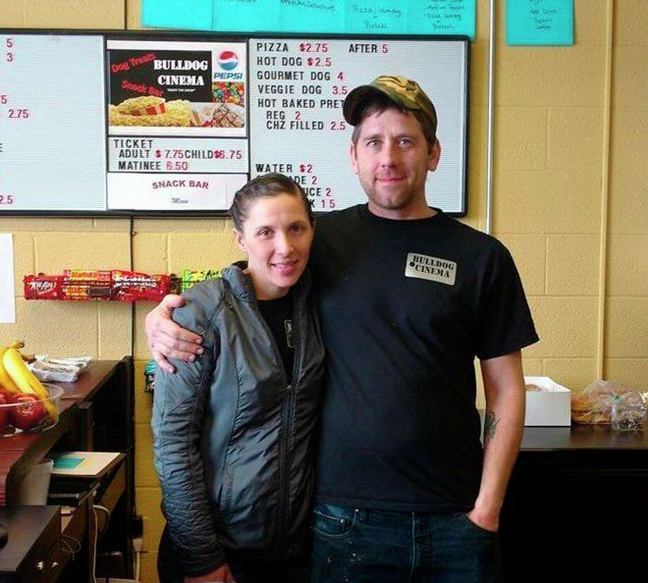Bulldog Cinema co-owners, Kylie Jo Szpiech and Jason Smith, are hoping to raise enough money to keep the movie theater running despite the business being temporarily closed due to concerns about the coronavirus. Photo: Courtesy Photo/Bulldog Cinema