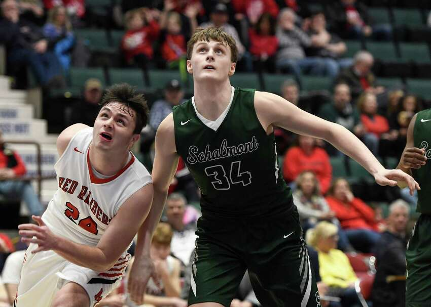 Schalmont's Shane O'Dell and Mechanicville's Luciano D'Ambro look on as a free throw rebounds during the Class B Sectional Final at Cool Insuring Arena in Glens Falls, N.Y., on Friday, Mar. 6, 2020. (Jenn March, Special to the Times Union)
