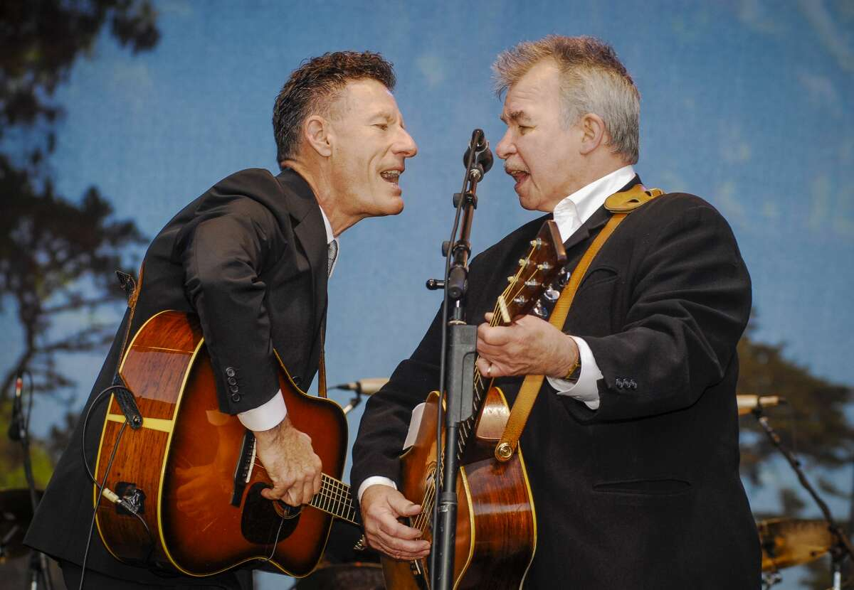 John Prine performs on stage with Lyle Lovett at Hardly Strictly Bluegrass festival in Golden Gate Park, San Francisco, California on 2nd October, 2009.