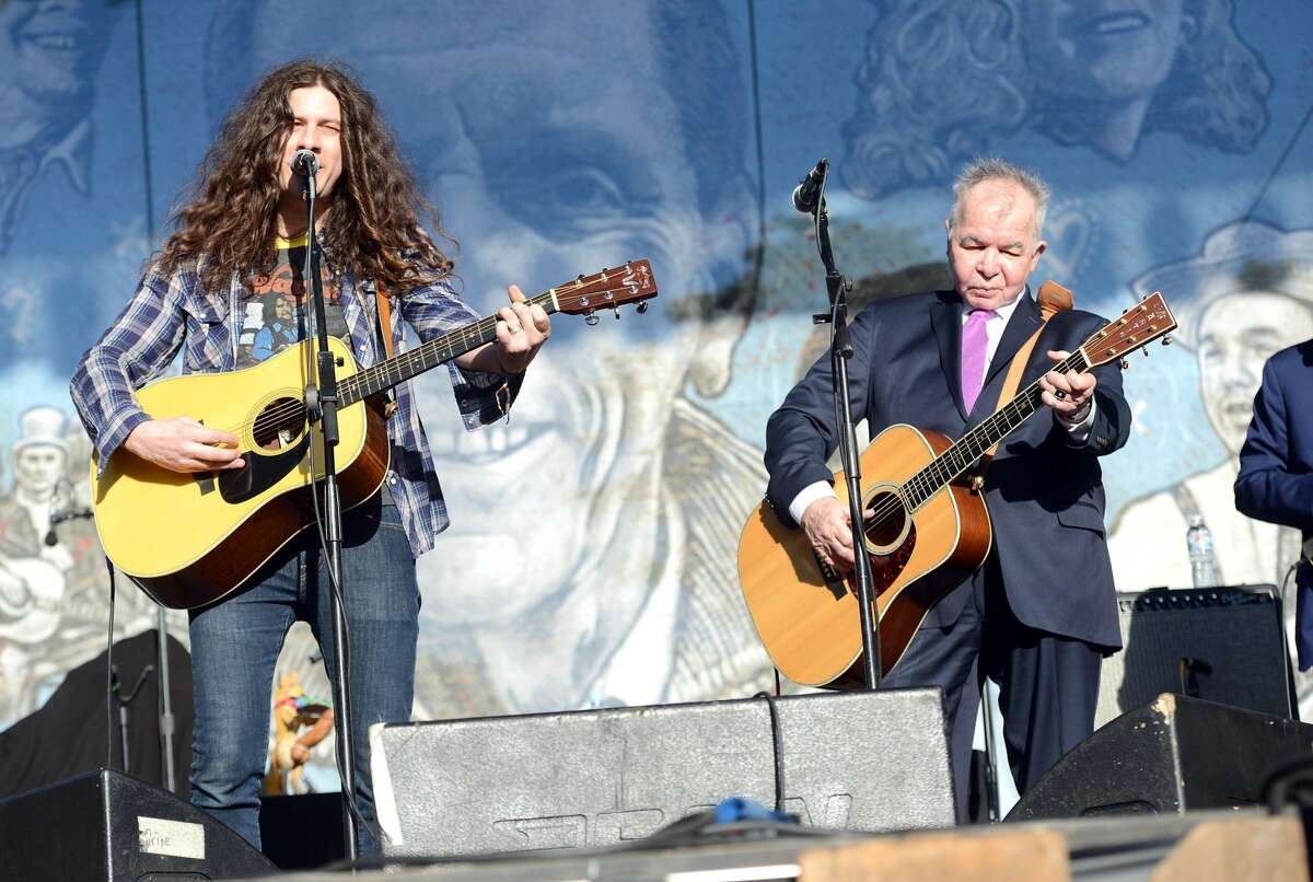 Singers Kurt Vile, left,and John Prine perform onstage during Hardly Strictly Bluegrass festival at Golden Gate Park on Oct. 8, 2017 in San Francisco.