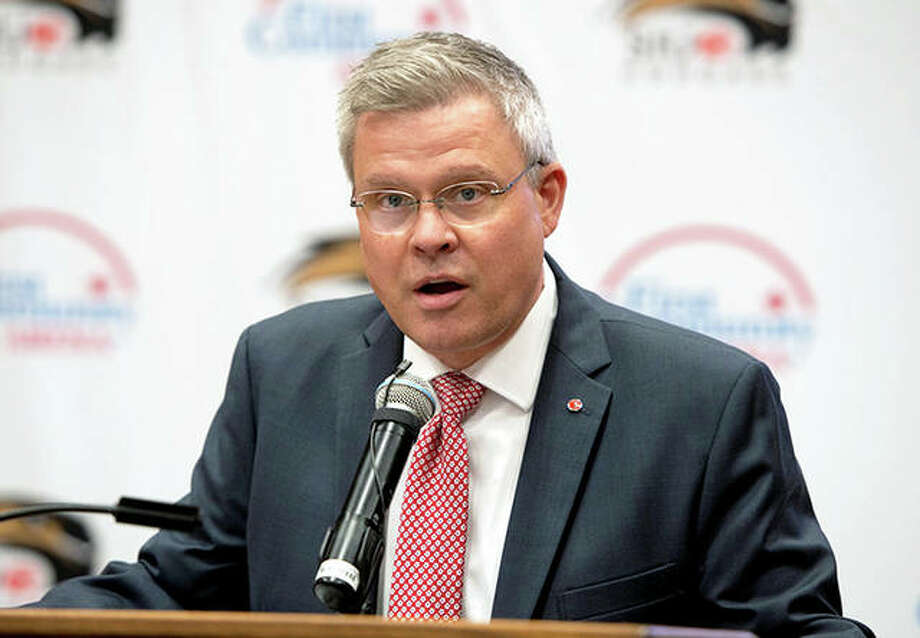 SIU Edwardsville athletic director Tim Hall delivering a recent speed. Hall wrote a letter to all SIUE student-Athletes earlier this week regarding the corona virus pandemic and how it affects them. Photo: SIUE Athletics