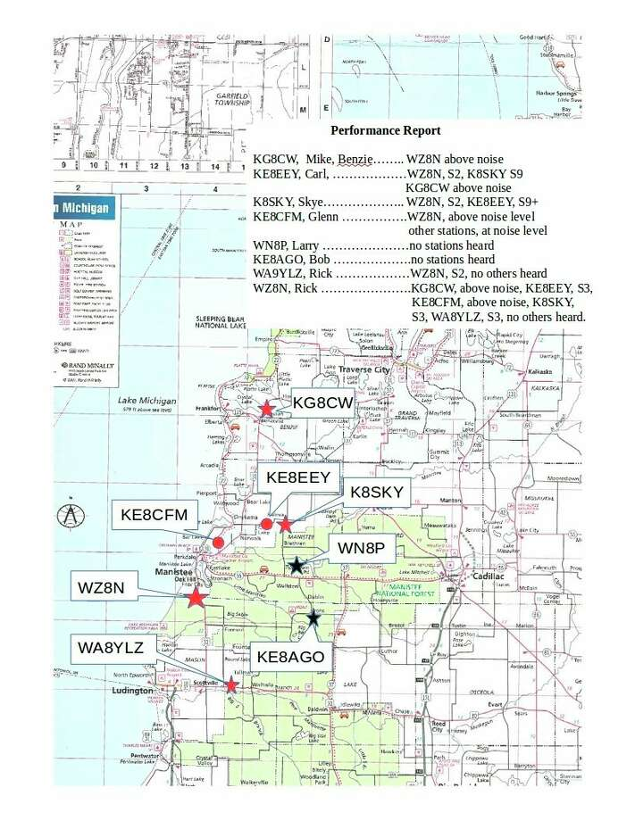 This map shows where the various ARES members were stationed around Manistee County for the Simplex test on April 1. Specifics on how the test went are listed for each of the stations. (Courtesy map)