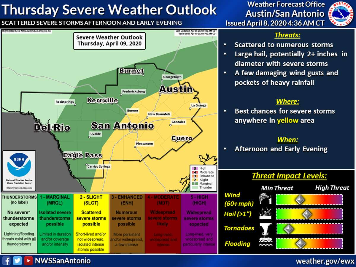 San Antonio can expect to see severe storms throughout Thursday as a cold front passes through the area, the National Weather Service said.
