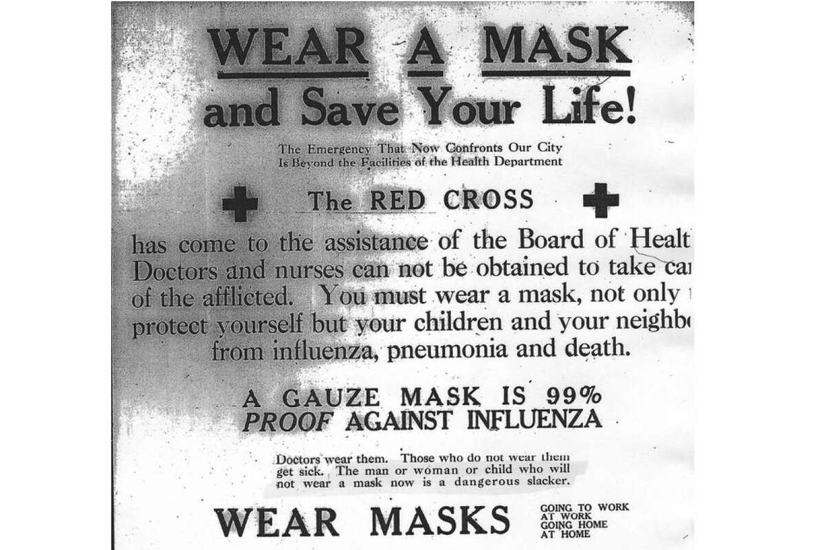 An advertisement from the Red Cross in the San Francisco Chronicle urging the public to wear face masks during the 1918 Spanish Flu pandemic in San Francisco.