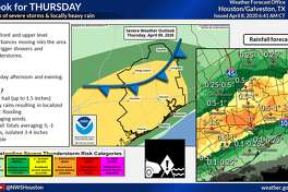 The National Weather Service predicts severe weather in Houston on Thursday, April 9, 2020.