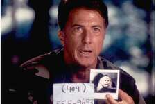 """Dustin Hoffman is shown in this file photograph from the film """"Outbreak,"""" which deals with a viral outbreak creating a national medical emergency."""