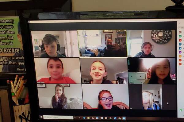 Monroe Elementary School Sean Serafino during his second virtual live meeting with students last week.