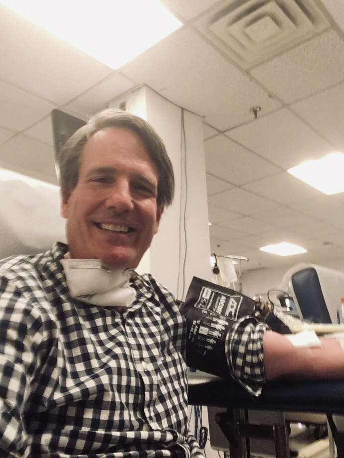 Staff Reporter Robert Marchant donating blood. Photo: / Contributed