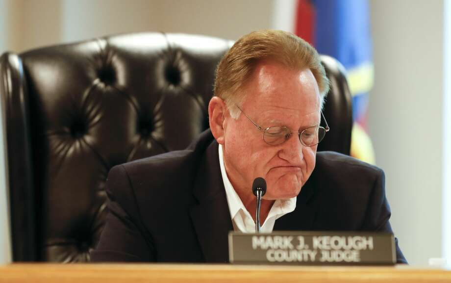 Montgomery County Judge Mark Keough takes a moment as he talks about the need to extend the countyÕs disaster declaration during an emergency Montgomery County Commissioners Court meeting, Wednesday, April 8, 2020, in Conroe. The court voted to extend the countyÕs disaster declaration to May 11. Photo: Jason Fochtman/Staff Photographer / 2020 ? Houston Chronicle