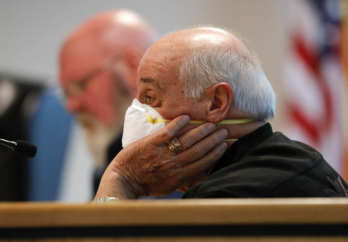 Montgomery County Precinct 1 Commissioner Mike Meador speaks as he wears a mask during an emergency Montgomery County Commissioners Court meeting, Wednesday, April 8, 2020, in Conroe. The court voted to extend the county?•s disaster declaration to May 11.